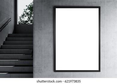 Poster Mockup in a industrial interior. 3d render