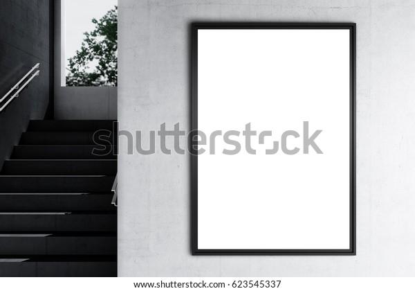 Poster Mock up in einem industriellen Interieur. 3D-Darstellung