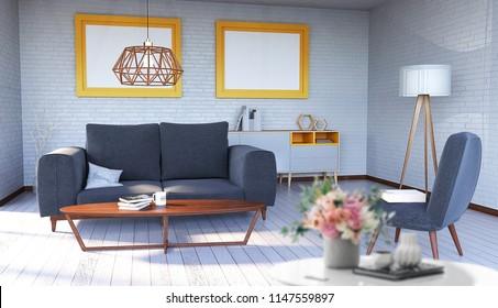 Poster mockup in modern interior. 3d renedering