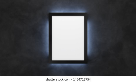 Poster mockup on the black wall with backlight. 3d render lightbox template
