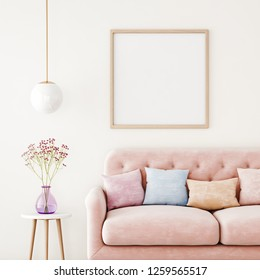 Poster mockup with square frame on empty wall in living room interior with pink sofa, multi-colored pastel pillows and hanging lamp. 3D rendering.