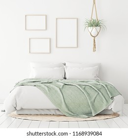 Poster mockup with three frames composition on empty white wall in bedroom interior with bed, green plaid, rug and plant. 3D rendering.