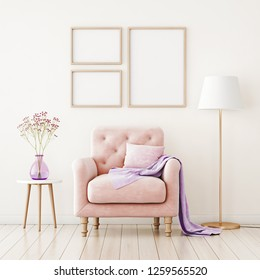 Poster mockup with three frames on empty wall in living room interior with pink armchair, pillow and lilac plaid. 3D rendering.