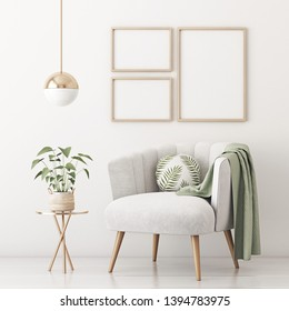 Poster mockup with three frames on empty white wall in living room interior with gray velvet armchair, round pillow with tropical pattern, green plaid and plant in basket. 3D rendering.