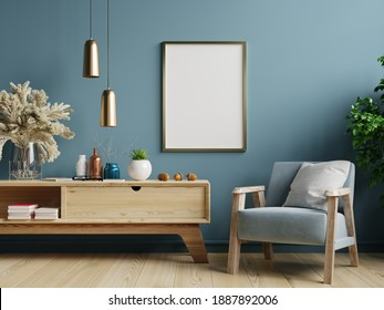 Poster mockup with vertical frames on empty dark green wall in living room interior with blue velvet armchair.3D rendering