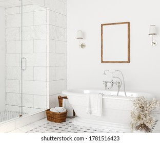 Poster mockup in white cozy bathroom interior background, 3d render