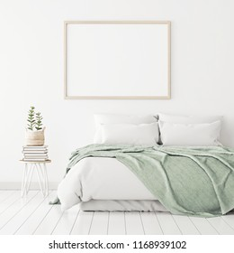 Poster mockup with wooden horizontal frame on empty white wall in bedroom interior with bed, green plaid and plants. 3D rendering.