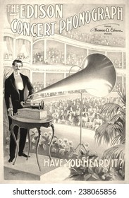 Poster for music festival, text reads: 'The Edison concert phonograph, have you heard it?', the U.S. printing Co. 1899.