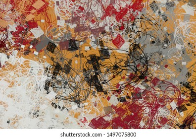 Poster oil painting element. 2d illustration. Texture unique backdrop form. Creative chaos structure mix matrix material creation bitmap figures. Acrylic vivid variety sketch contour.
