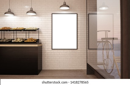 poster on bakery wall mockup 3d rendering