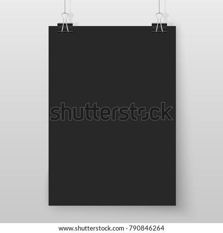 poster on binder clips on grey stock illustration 790846264