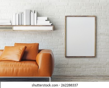 poster on brick wall, 3d render