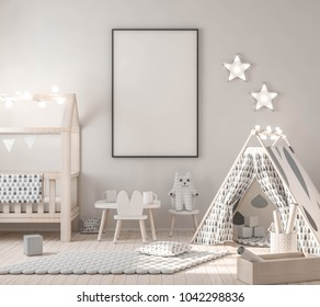 Poster on wall in kids interior 3d rendering