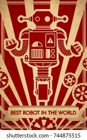 Poster with retro robot. Excellent illustration for printing on clothing, paper and other surfaces.
