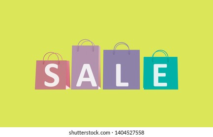 Poster Sale. Colorful shopping bags on green background. 3d rendering