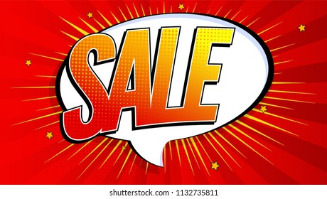 Poster of sales. Pop art background, explosion in comics book style. Advertising signboard, price reduction, sale with halftone dots, cloud beams light on red backdrop, 3D illustration