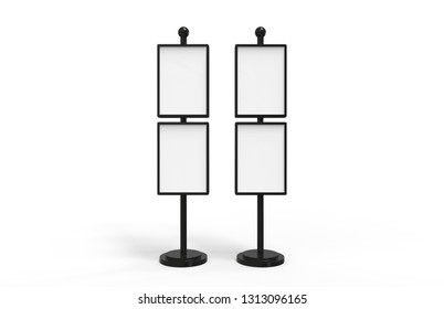 Poster stand takes multiple A2, A3, A4, A5 posters on a tall stand, mock up template for retail displays in stores as a shop poster stand, 3d illustration