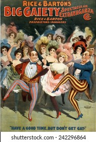 Poster for Vaudeville troupe, 'Rice and Barton's Big Gaiety Spectacular Extravaganza'. Brothels were often called gay houses. 1899.