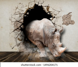Poster for the walls. A rhino breaks through a wall and runs into a room. 3D rendering.