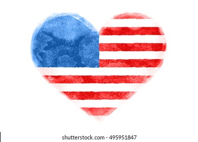 Poster of watercolor heart shape United State of America flag. I Love USA red and blue isolated heart symbol on white background. Watercolor heart with American flag. Illustration