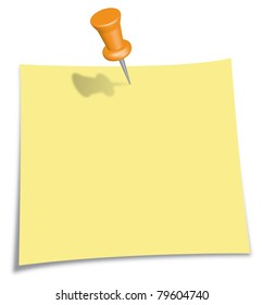 Post-It Note with orange Pin