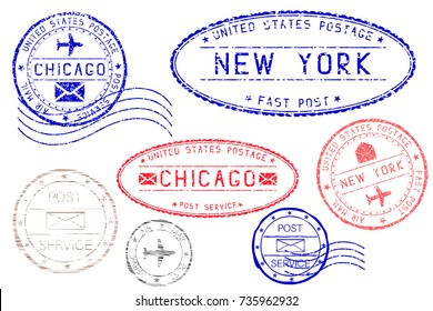 Postmarks NEW YORK and CHICAGO. Blue and red ink postal elements. Illustration isolated on white background. Raster version