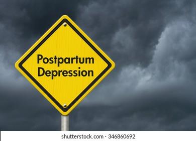 Postpartum Depression Warning Sign, Yellow Caution sign with words Postpartum Depression with stormy sky background