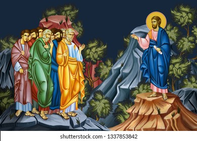 Post-Resurrection appearances of Jesus. The earthly appearances of Jesus to his followers after his death, burial, and resurrection. Illustration - fresco in Byzantine style.