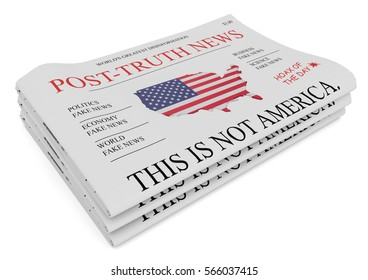 Post-Truth News US Media Concept: Pile of Newspapers, 3d illustration on white background