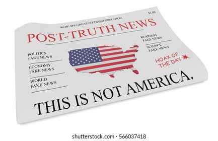 Post-Truth News US Media Concept: Newspaper Front Page, 3d illustration on white background