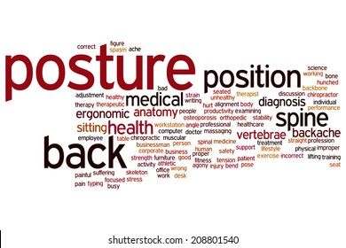 Posture concept word cloud background