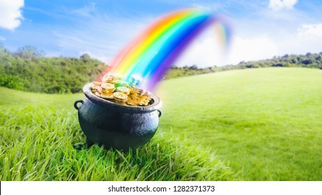 Pot at the end of the rainbow with gold coins on the grass /3D Render, illustration