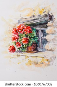 Pot with geraniums in the window of historic stone building.Picture created with watercolors.