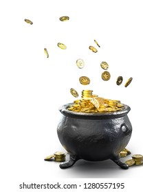 Pot with gold coins isolated on white /3D Render, illustration