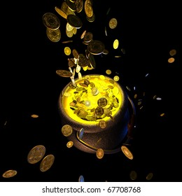 Pot of gold coins isolated on black  3D render