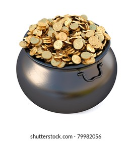 Pot of gold coins. isolated on white.