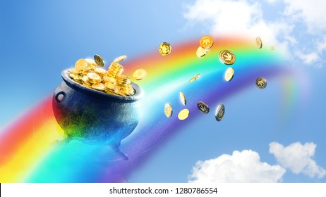Pot with gold coins on a rainbow  /3D Render, illustration