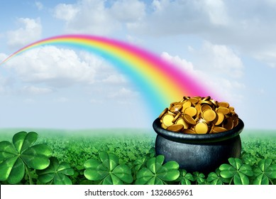 Pot of gold at the end of a rainbow Saint Patricks day concept with a green clover field on a golden sparkling treasure as a symbol for spring and Irish celebration with 3D illustration elements.