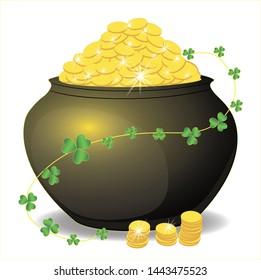 Pot of gold, magic rainbow, hat, clover, beautiful background. illustration