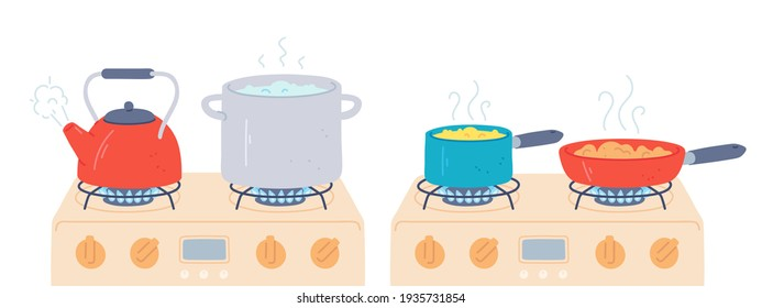 Pot and pan on stove. Preparing food and boiling water in saucepan and kettle with steam on kitchen gas stoves. Cooking on fire  set