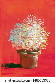 pot plant flower red background watercolor gouache acrylic hand painted artwork abstract