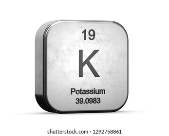 Potassium element from the periodic table series. Metallic icon 3D rendered on white background