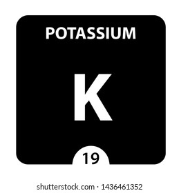 Potassium K chemical element. Potassium Sign with atomic number. Chemical 19 element of periodic table. Periodic Table of the Elements with atomic number, weight and Potassium symbol. Laboratory and