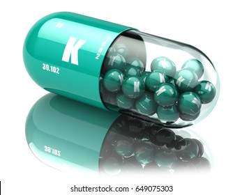Potassium K element pill. Dietary supplements. Vitamin capsules. 3d illustration.