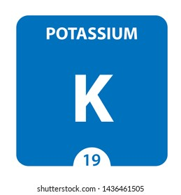 Potassium symbol. Sign Potassium with atomic number and atomic weight. K Chemical element of the periodic table on a glossy white background. Experiments in the laboratory. science ant technology