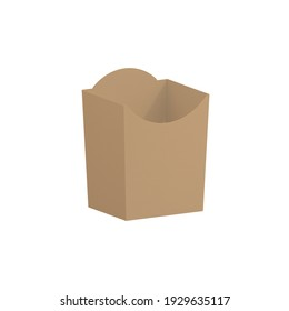 POTATO BOX BROWN carton paper cardboard ANGULAR view camera type orthographic food box cube cake packaging type G mock up template digital design graphic 3d hd illustration - Shutterstock ID 1929635117