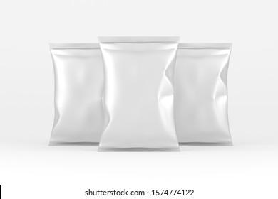 Potato Chips Foil Bag Pack 3D Rendering White Blank Mockup