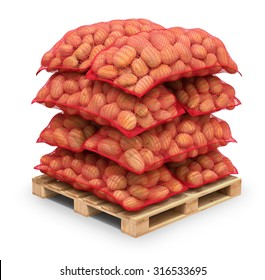 Potatoes in red burlap sacks on the pallet