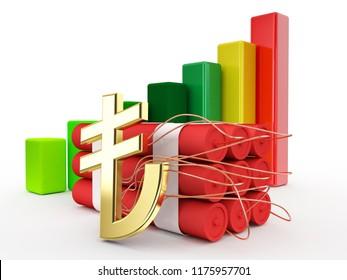 potential crisis turkish lira economic graphic 3d illustration