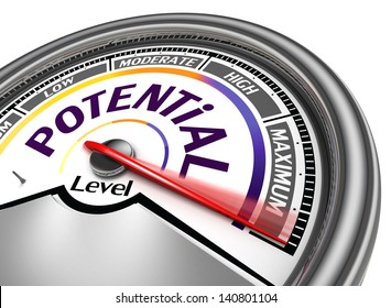 potential level conceptual meter, isolated on white background
